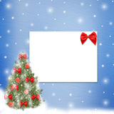 Christmas tree with balls and bows. Card for congratulation. Christmas tree with balls and bows Royalty Free Stock Image