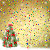Christmas tree with balls and bows. Card for congratulation. Christmas tree with balls and bows stock illustration