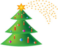 Christmas tree. With balls and candles Royalty Free Stock Photos