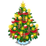 Christmas tree with balls, candles and gingerbread. Men. Festive vector symbol on white background Royalty Free Stock Photo