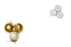 Christmas tree balls and candles with greeting card. Background with Christmas tree balls, greeting card and silver candles stock photography