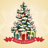 Christmas tree with balls, candy, gifts and candles. Christmas card. Illustration Royalty Free Stock Photography