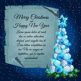 Christmas tree balls and card parchment for text Royalty Free Stock Photos