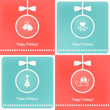 Christmas Tree Balls Cards Set Stock Photo