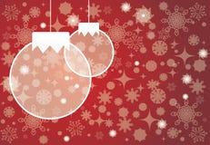Christmas tree balls. Christmas card red backgraund. Stock Photos