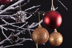 Christmas tree balls close up. Modern Christmas tree with bare snow covered branches, decorated with hanging glitter balls, all on a black background Stock Photos