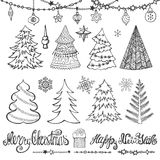 Christmas tree, balls,decor,titles.Black. Christmas tree,balls,lettering.Hand drawn doodle decoration with garlands,handwriting New year quotes  wishes Royalty Free Stock Photography