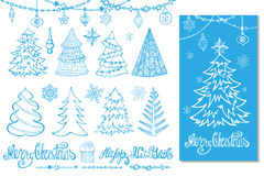 Christmas tree, balls,decor,titles.Blue Card. Christmas tree,balls,lettering.Hand drawn doodle decoration,garlands,handwriting New year quotes  wishes,snowflakes Stock Images