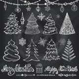 Christmas tree, balls,decor,titles.Chalkboard Royalty Free Stock Photography