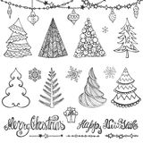 Christmas tree, balls,decor,wishes.Black. Christmas tree,balls,lettering.Hand drawn doodle decoration with garlands,handwriting New year quotes  wishes Royalty Free Stock Image