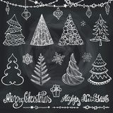 Christmas tree, balls,decor,wishes.Chalkboard. Christmas tree,balls,lettering.Hand drawn doodle decoration with garlands,handwriting New year quotes  wishes Royalty Free Stock Images