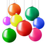 Christmas tree balls in different colors hanging on strings. Vector illustration on a white background Royalty Free Stock Photography