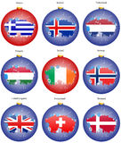 Christmas tree balls with flags of the Europe Stock Image