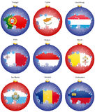 Christmas tree balls with flags of the Europe Stock Photo
