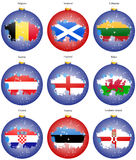 Christmas tree balls with flags of the Europe Royalty Free Stock Photo