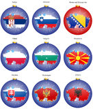 Christmas tree balls with flags of the Europe Stock Photography