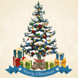 Christmas tree with balls, garland and gifts . Christmas card vector. Illustration vector illustration