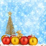 Christmas tree with balls and gift bags Stock Photos