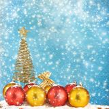 Christmas tree with balls and gift bags Stock Photo