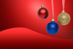 Christmas tree balls - greeting card. Christmas tree balls - empty greeting card on red background Royalty Free Stock Photo