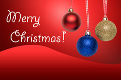 Christmas tree balls. Greeting card with text on red background Royalty Free Stock Image