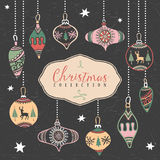 Christmas tree balls. Hand drawn illustration. Design elements Royalty Free Stock Images