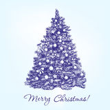 Christmas tree  with balls hand drawn vector. Llustration  realistic  sketch Royalty Free Stock Images