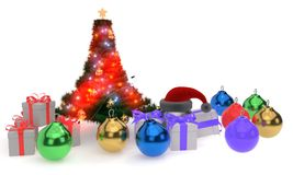 Christmas tree balls hat gift packages, 3d render. Ing Royalty Free Stock Photography