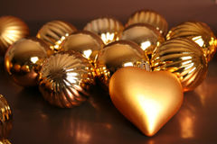 Christmas tree balls I. One heart under Christmas baubles Stock Photography
