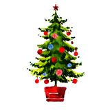 Christmas tree with balls isolated Royalty Free Stock Image