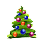 Christmas tree with balls isolated Stock Photos