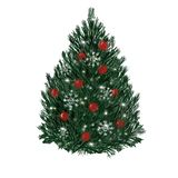 Christmas tree with balls and lights isolated on white background. New Year vector illustration
