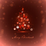 Christmas tree with balls and lights. Red  background, vector Royalty Free Stock Photo