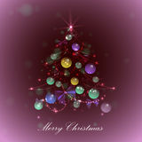 Christmas tree with balls and lights, red background, Royalty Free Stock Photos
