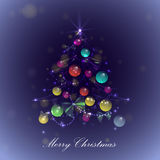 Christmas tree with balls and lights,. Vector Royalty Free Stock Image