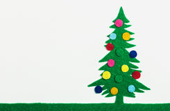 Christmas tree with balls made ​​of felt Royalty Free Stock Photo