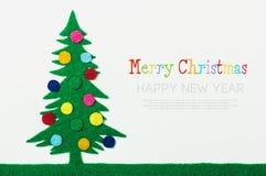 Christmas tree with balls made of felt Royalty Free Stock Photos