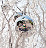 Christmas tree balls and mirroring of father and sun Royalty Free Stock Photography