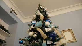 Christmas tree with balls and ornaments. Silver color stock video