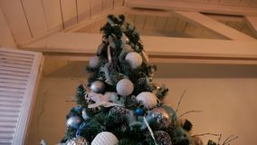 Christmas tree with balls and ornaments stock video