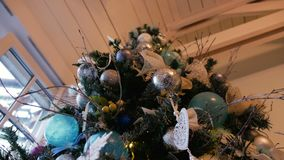 Christmas tree with balls and ornaments stock video footage