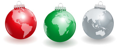 Christmas Tree Balls Planet Earth. Shiny christmas tree balls with three different angles of planet earth.  vector illustration on white background Stock Image