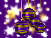 Christmas tree balls. In purple and gold Stock Photography