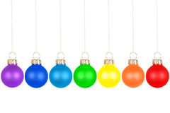 Christmas tree balls, rainbow colors Stock Image