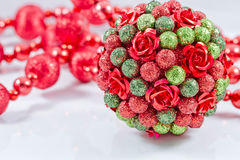Christmas tree balls with red garland Stock Photos