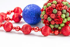 Christmas tree balls with red garland Stock Photo