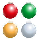 Christmas Tree Balls Red Green Gold Silver Stock Photo