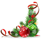 Christmas tree balls with red ribbon Stock Image