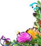 Christmas tree balls with ribbons Royalty Free Stock Photo