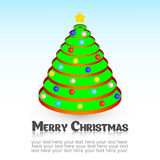 Christmas tree with balls and star. Christmas card.  Royalty Free Stock Image